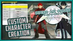 custom character creation sword art online lost song ps vita