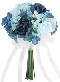 blue wedding bouquets hydrangea navy light blue tie small silk bridal