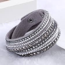 crystal leather wrap bracelet images Swarovski rhinestone leather wrap multilayer bracelets bangles jpg