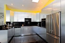 kitchen modern schemes of u shaped kitchen designs shows space kitchen u shaped kitchen designs by white glossy wooden kitchen cabinet with black countertop and