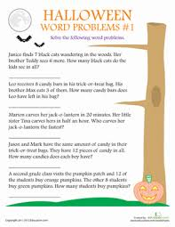 2nd grade halloween word problem worksheets education com
