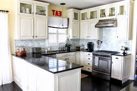 White Kitchen Cabinets With Black Granite Kitchen Backsplash With White Cabinets L Shape Wooden Kitchen