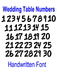 wedding table number fonts wedding table numbers 1 30 handmade font vinyl decal