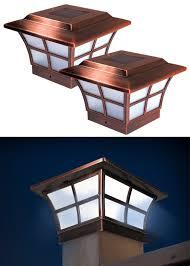 4x4 post cap lights set of 2 prestige copper post cap solar lights