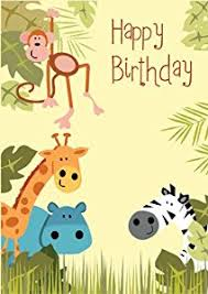 Jungle Birthday Card Jungle Animals Children S Kid S Happy Birthday Greeting Card