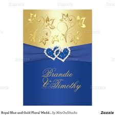 Gold Invitation Card Royal Blue And Gold Floral Wedding Invitation Floral Wedding