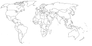 black and white map of the world black and white map of the