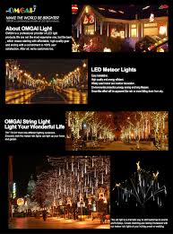 outdoor tube lighting amazon com omgai waterproof meteor shower rain lights 30cm 8