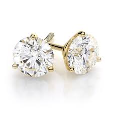 gold diamond stud earrings 1 4 carat 3 prong diamond stud earrings 14k yellow gold