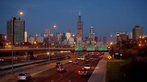 backdrop city highway in chicago against the backdrop of the city at