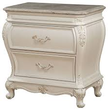 chantelle nightstand with granite top pearl white victorian