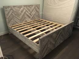 Wood Bed Frames Reclaimed Barn Wood Herringbone King Size Bed Frame Bed Frames