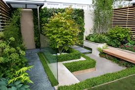 deluxe luxury modern small garden design with raised beds and