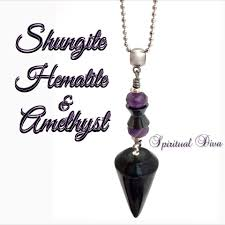 amethyst necklace pendant images Shungite hematite amethyst healing crystal reiki necklace pendant jpg