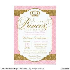 Baby Shower Card Invitations Little Princess Royal Pink And Gold Baby Shower Invitations