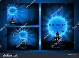 set flyers halloween vector illustration templates stock vector