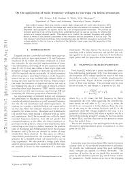 Radio Frequency Reference Guide On The Application Of Radio Frequency Voltages To Ion Traps Via