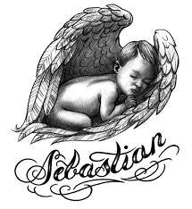 grey ink baby angel sleeping in wings tattoo design tattooshunt com