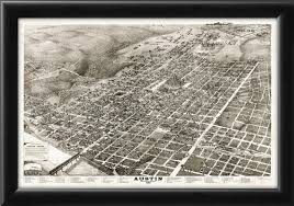 Map Austin Tx Restored Bird U0027s Eye View Map Of Austin Texas 1887 Vintage City