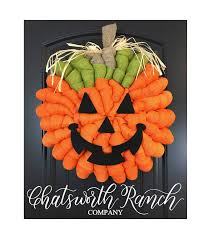 jack o u0027 lantern pumpkin burlap wreath rustic thanksgiving