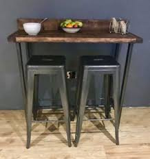 table with 2 stools reclaimed wood breakfast bar table and 2 stools set industrial