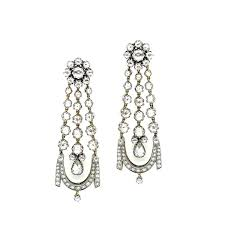 diamond chandelier earrings buy georgian style diamond chandelier earrings at t h