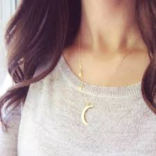 chain length necklace images Moon pendant necklace for women charm stars zinc alloy chain jpeg