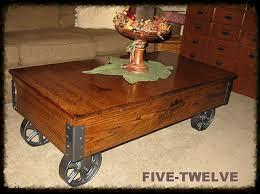 handmade coffee table five twelve woodworking factory carts illinois industrial furniture