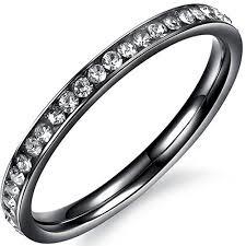 black wedding ring set women 2mm titanium stainless steel channel set cubic zirconia cz