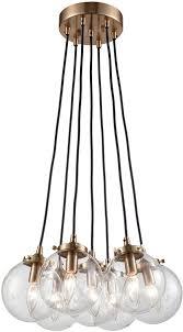 Elk Pendant Lights Elk 14465 7 Boudreaux Modern Satin Brass Multi Hanging Pendant