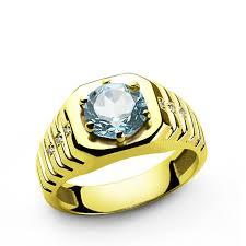 topaz gemstone rings images Diamonds men 39 s ring in 10k yellow gold with blue topaz gemstone jpg