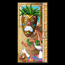 pirate scene parrot toucan door mural wall decor luau decoration funny toilet loo tiki head mask on the potty bathroom door cover shower mural restroom wall