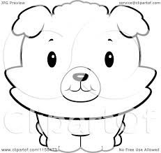 cartoon clipart of a black and white baby bichon puppy smiling