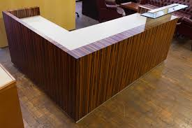 Reception Desk Wood Custom Low Profile Tiger Wood Reception Desk From The Feature
