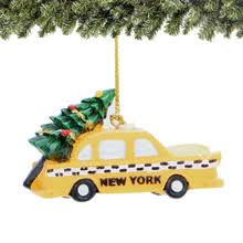 nyc taxi and tree ornament