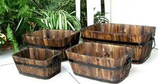 shine co rectangular fir barrel planters set of 4 in planters