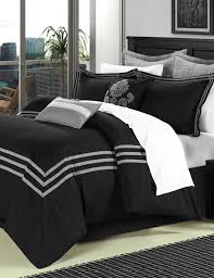 chic home design 8 pc cosmo black u0026 silver brushed microfiber