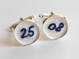 cotton anniversary gifts wedding date embroidery cuff links cotton anniversary gift blue