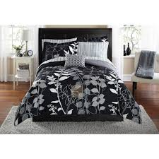 black bedroom sets for cheap mainstays orkasi bed in a bag coordinated bedding set walmart com