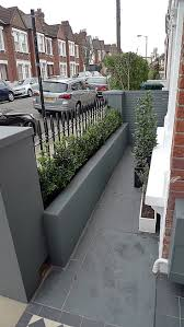 Front Garden Walls Ideas Grey Walls Metal Rail Tile Planting Design Modern Formal Balham
