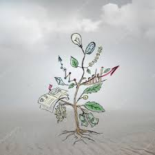 concept of growing company with sketch of a tree with business