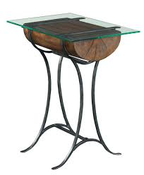 rustic log chairside table with tempered glass top by kincaid