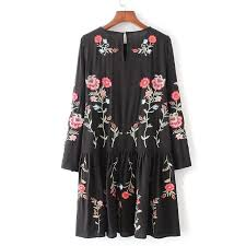 aliexpress com buy autumn fashion brand floral embroidered dress