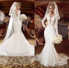 stunning white plus size wedding dresses 2017 long sleeve v neck
