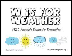 free printable weather pre k pack free printable weather and