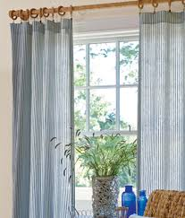 Blue Ticking Curtains Ticking Stripes Curtains For A Nautical Look Hobo Cottage