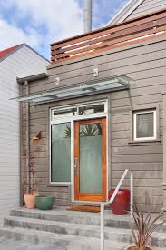 Glass Awning Design Glass Awning With Deck Entry Modern And Round Indoor Pots And Planters