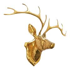 vintage brass deer head wall mount chairish