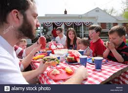 large family gathering for a 4th of july barbecue stock photo