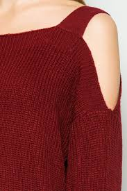 maroon sweaters cold shoulder knit sweater in burgundy my yuccie